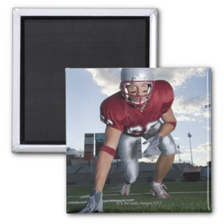 Football player in game stance square magnet