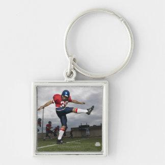 Football Player Kicking Football 2 Silver-Colored Square Key Ring