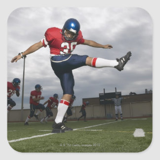 Football Player Kicking Football 2 Square Sticker