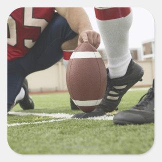 Football Player Kicking Football Square Sticker