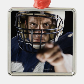 Football player pointing and looking intense Silver-Colored square decoration