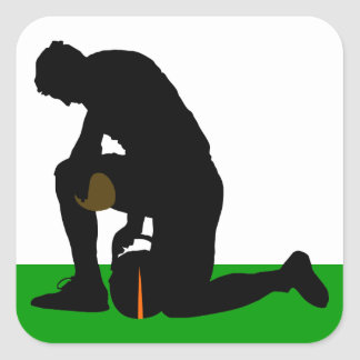 football player silhouette square sticker