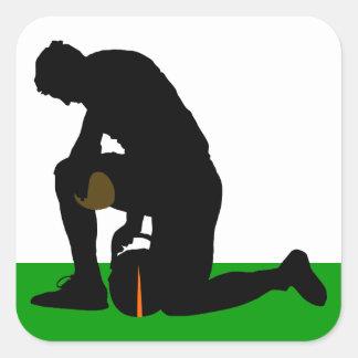 football player silhouette square sticker