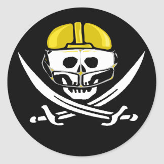 Football Player Skull and Swords Gold Round Stickers