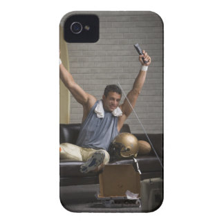 Football player watching football and cheering iPhone 4 Case-Mate case