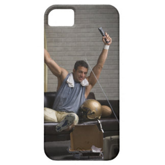 Football player watching football and cheering iPhone 5 cases