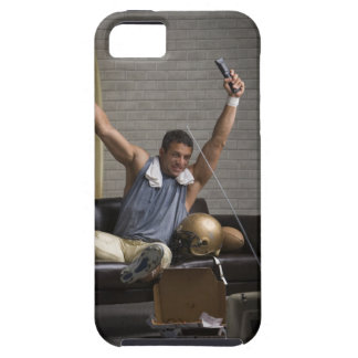 Football player watching football and cheering iPhone 5 covers
