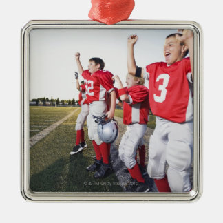 Football players cheering on sideline Silver-Colored square decoration