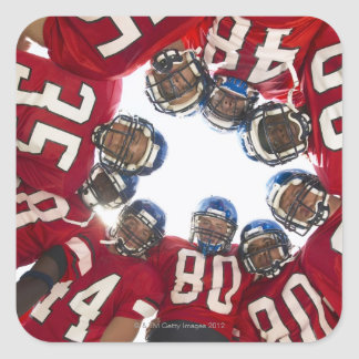 Football Players in Huddle Square Sticker