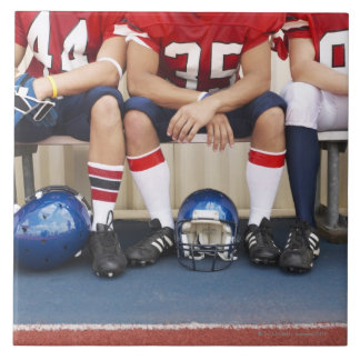 Football Players on Bench 2 Large Square Tile