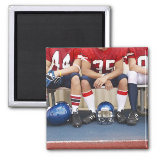 Football Players on Bench 2 Square Magnet