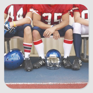 Football Players on Bench 2 Square Sticker