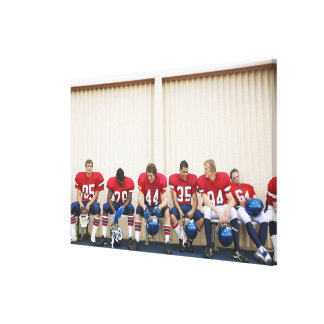 Football Players on Bench Canvas Print