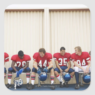 Football Players on Bench Square Sticker