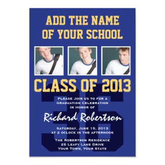 Football Player's Sports Graduation Uniform Number Card