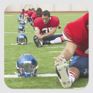 Football Players Stretching Square Sticker