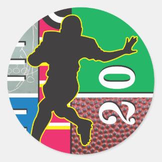 Football Power Running Design Classic Round Sticker