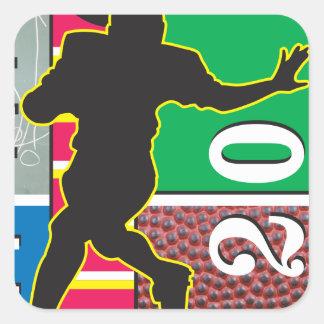 Football Power Running Design Square Sticker