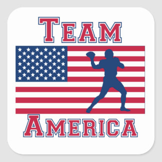 Football Quarterback American Flag Team America Square Sticker