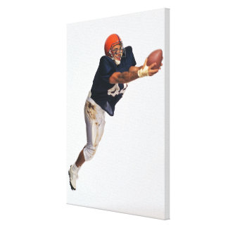 Football receiver catching ball 2 canvas print