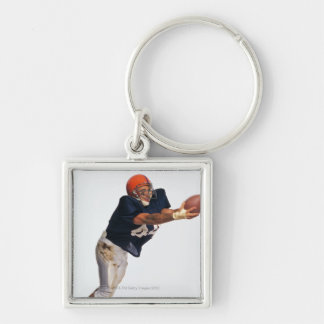 Football receiver catching ball 2 key chain