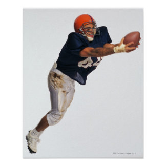 Football receiver catching ball 2 poster