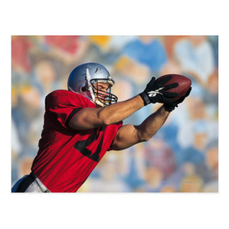 Football receiver catching ball postcard