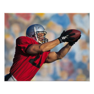 Football receiver catching ball poster