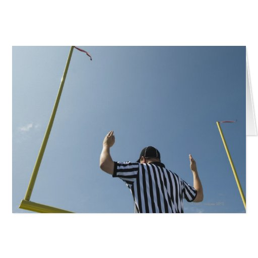 Football referee calling field goal greeting cards