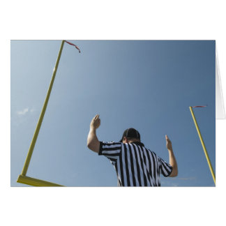 Football referee calling field goal greeting card