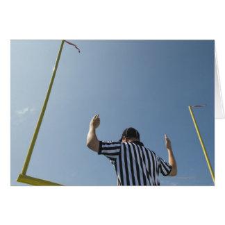Football referee calling field goal greeting card