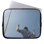 Football referee calling field goal laptop sleeve