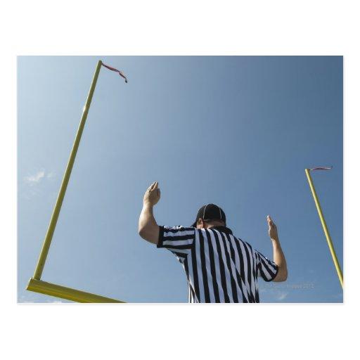 Football referee calling field goal postcards