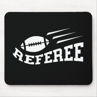 Football referee white on black with bouncing ball mouse mat