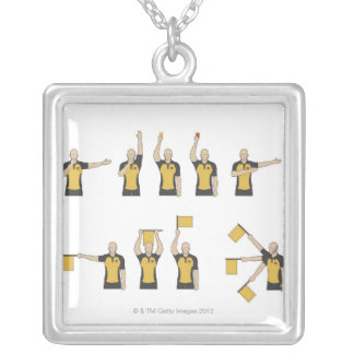 Football referees' signals silver plated necklace