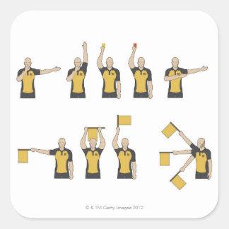 Football referees' signals square sticker