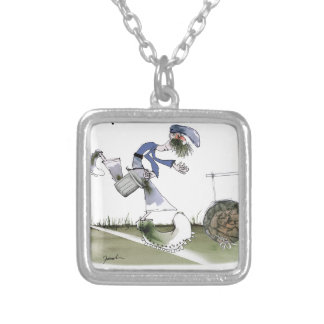 football right wing blue kit silver plated necklace