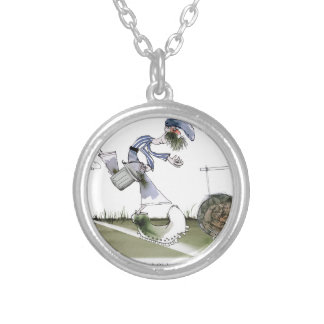 football right wing blue white kit silver plated necklace
