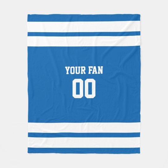 Football Royal Blue & White Personalised Fleece Blanket