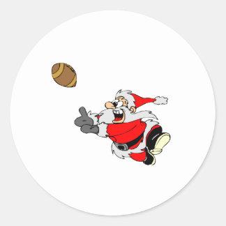 Football Santa Round Stickers