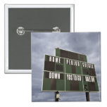 Football scoreboard and storm clouds. 15 cm square badge