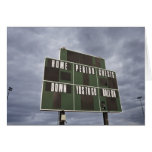 Football scoreboard and storm clouds. greeting card