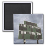 Football scoreboard and storm clouds. square magnet