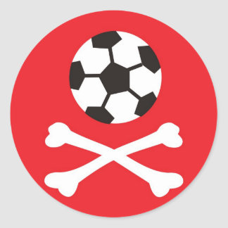 Football scull round sticker