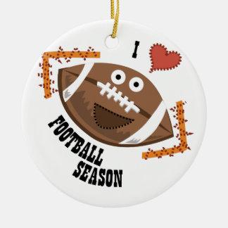 Football Season Double-Sided Ceramic Round Christmas Ornament