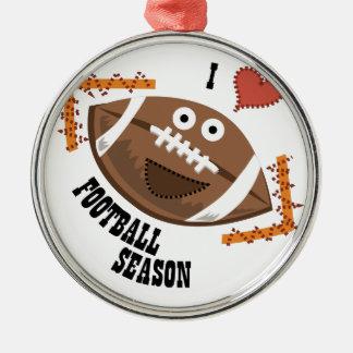 Football Season Round Metal Christmas Ornament