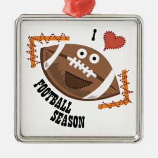 Football Season Square Metal Christmas Ornament