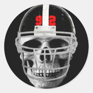 Football skull round sticker
