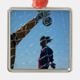 Football (Soccer) 3 Silver-Colored Square Decoration