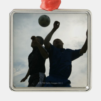 Football (Soccer) 4 Silver-Colored Square Decoration